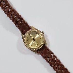 Francesca's Gold Elephant Watch w/ Brown Strap
